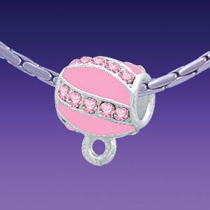 BT1265 tlf - Pink Enamel Stripes with Light Rose Crystals Charm Hanger - Triple Silver Plated Large Hole Bead (2 per package)