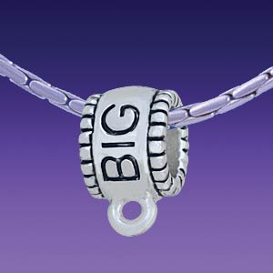 BT1274 tlf - Big Sister Charm Hanger - Triple Silver Plated Large Hole Bead (2 per package)
