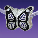 BT1099 tlf - Purple Monarch Butterfly with AB Swarovski Crystals - Triple Silver Plated Large Hole Bead (2 per package)