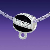 BT1255 tlf - Black Enamel Stripes with Clear Crystals Charm Hanger - Triple Silver Plated Large Hole Bead (2 per package)