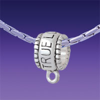 BT1312 tlf - True Love Waits Hanger - Triple Silver Plated Large Hole Bead (2 per package)