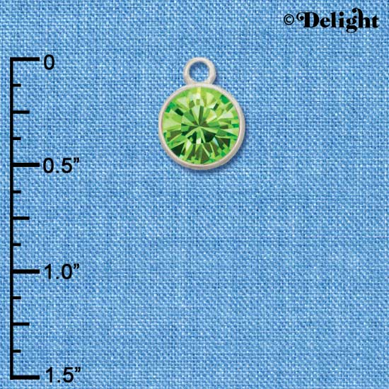CT1017 tlf - 10mm Lime Green Peridot Swarovski Crystal Drop - Triple Silver Plated Charm (2 per package)