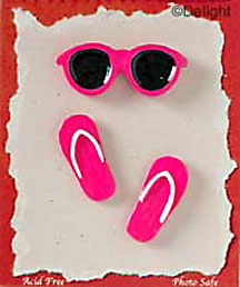 71ffb594489 S1120 - Hot Pink Sunglasses   Flip Flops - JazzUps Resin Scrapbook  Embellishment Set