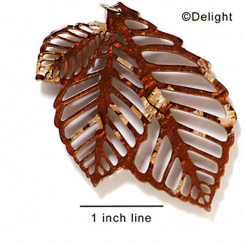 A1009 tlf - Extra Large Triple Leaf - Pearly Brown - Acrylic Pendant (6 per package)