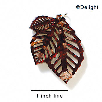 A1013 tlf - Large Triple Leaf - Pearly Brown - Acrylic Pendant (6 per package)