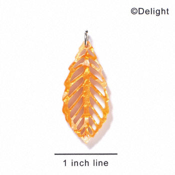 A1026 tlf - Large Leaf - Pearly Orange - Acrylic Pendant (6 per package)