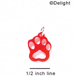 A1035 tlf - Small Paw - Red - Acrylic Charm (6 per package)