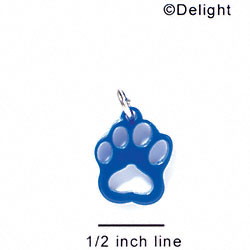 A1036 tlf - Small Paw - Blue - Acrylic Charm (6 per package)