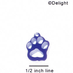 A1038 tlf - Small Paw - Purple - Acrylic Charm (6 per package)