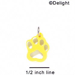 A1039 tlf - Small Paw - Yellow - Acrylic Charm (6 per package)