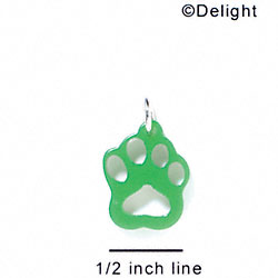A1040 tlf - Small Paw - Green - Acrylic Charm (6 per package)
