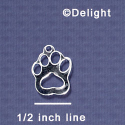 A1042 tlf - Small Paw - Mirror Silver - Acrylic Charm (6 per package)