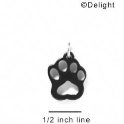 A1046 tlf - Small Paw - Black - Acrylic Charm (6 per package)