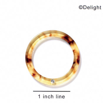 "A1049 tlf - 1 1/2"" Ring with 4mm Crystal - Tortoise - Acrylic Pendant (6 per package)"