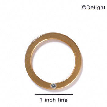 "A1050 tlf - 1 1/2"" Ring with 4mm Crystal - Gold - Acrylic Pendant (6 per package)"