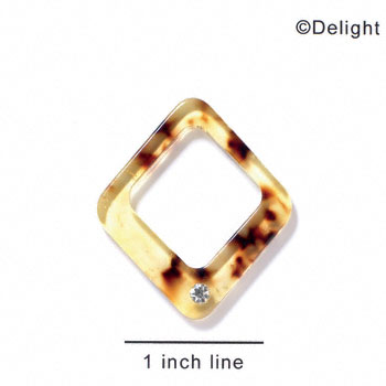 "A1087 tlf - 1 1/2"" Diamond with 1 Crystal - Tortoise - Acrylic Pendant (6 per package)"