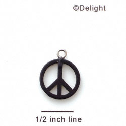 A1108 tlf - Small Black Peace Sign - Acrylic Charm (6 per package)