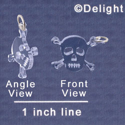 A1115 tlf - Small Clear Skull - Acrylic Charm (6 per package)
