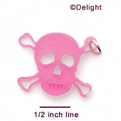 A1117 tlf - Large Pink Skull - Acrylic Pendant (6 per package)