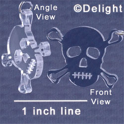 A1120 tlf - Large Clear Skull - Acrylic Pendant (6 per package)
