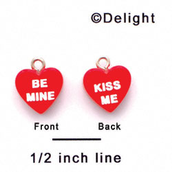 "A1127+ tlf - Red ""Be Mine / Kiss Me"" Heart - Acrylic Charm (6 per package)"