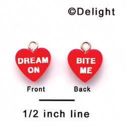 "A1131+ tlf - Red ""Dream On / Bite Me"" Heart - Acrylic Charm (6 per package)"