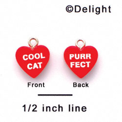 "A1133+ tlf - Red ""Cool Cat / Purr Fect"" Heart - Acrylic Charm (6 per package)"