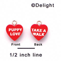 "A1135+ tlf - Red ""Puppy Love / Take a Walk"" Heart - Acrylic Charm (6 per package)"
