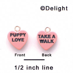 "A1136+ tlf - Pink ""Puppy Love / Take a Walk"" Heart - Acrylic Charm (6 per package)"