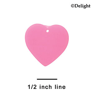 "A1151 tlf - 1"" Hot Pink Heart - Acrylic Charm (6 per package)"