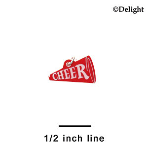 "A1197 tlf - 3/4"" Red Cheer Megaphone - Acrylic Charm (6 per package)"