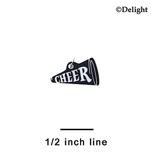 "A1205 tlf - 3/4"" Black Cheer Megaphone - Acrylic Charm (6 per package)"