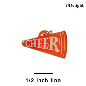 "A1212 tlf - 1.25"" Orange Cheer Megaphone - Acrylic Charm (6 per package)"