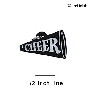"A1219 tlf - 1.25"" Black Cheer Megaphone - Acrylic Charm (6 per package)"
