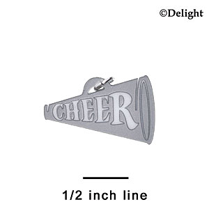 "A1220 tlf - 1.25"" Silver Cheer Megaphone - Acrylic Charm (6 per package)"