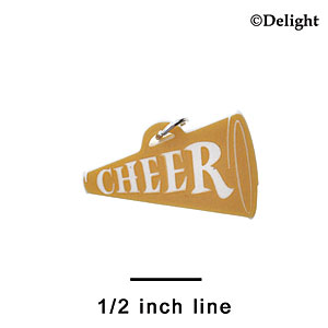 "A1221 tlf - 1.25"" Gold Cheer Megaphone - Acrylic Charm (6 per package)"