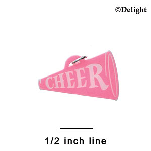 "A1223 tlf - 1.25"" Hot Pink Cheer Megaphone - Acrylic Charm (6 per package)"