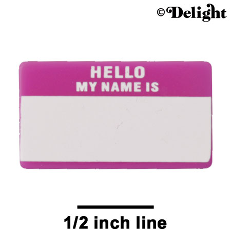 "A1228 tlf - Magenta ""Hello"" Name Tag - Acrylic Decoration (6 per package)"
