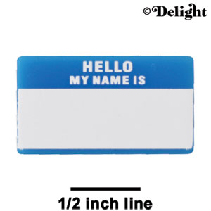"A1229 tlf - Cyan ""Hello"" Name Tag - Acrylic Decoration (6 per package)"