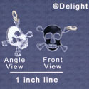 A1113 tlf - Small Mirror Skull - Acrylic Charm (6 per package)
