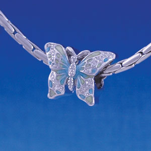 B1218 tlf - 2-D Lime Green & Blue Butterfly - Im. Rhodium Plated Large Hole Bead (2 per package)
