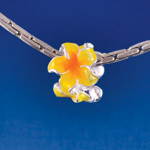 B1464 tlf - Hot Yellow and Orange Plumeria Flowers - Silver Plated Large Hole Bead (6 per package)