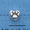 B1133 tlf - Mini Silver Paw in Heart - 2 Sided - Silver Plated Bead (6 per package)