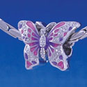 B1217 tlf - 2-D Hot Pink and Purple Butterfly - Im. Rhodium Plated Large Hole Bead (2 per package)