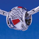 B1243 tlf - Enamel Texas on Hatched Background - Im. Rhodium Plated Large Hole Bead (6 per package)