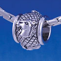 B1274 tlf - Horse Head on Hatched Background - Im. Rhodium Plated Large Hole Bead (6 per package)