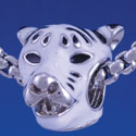 B1289 tlf - White Tiger Head - Im. Rhodium Plated Large Hole Bead (6 per package)