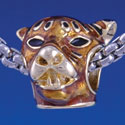 B1290 tlf - Tiger Head - Gold Plated Large Hole Bead (6 per package)