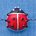 B1292 tlf - Translucent Red Ladybug - Silver Plated Bead (2 per package)