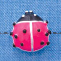 B1293 tlf - Hot Pink Ladybug - Silver Plated Bead (2 per package)